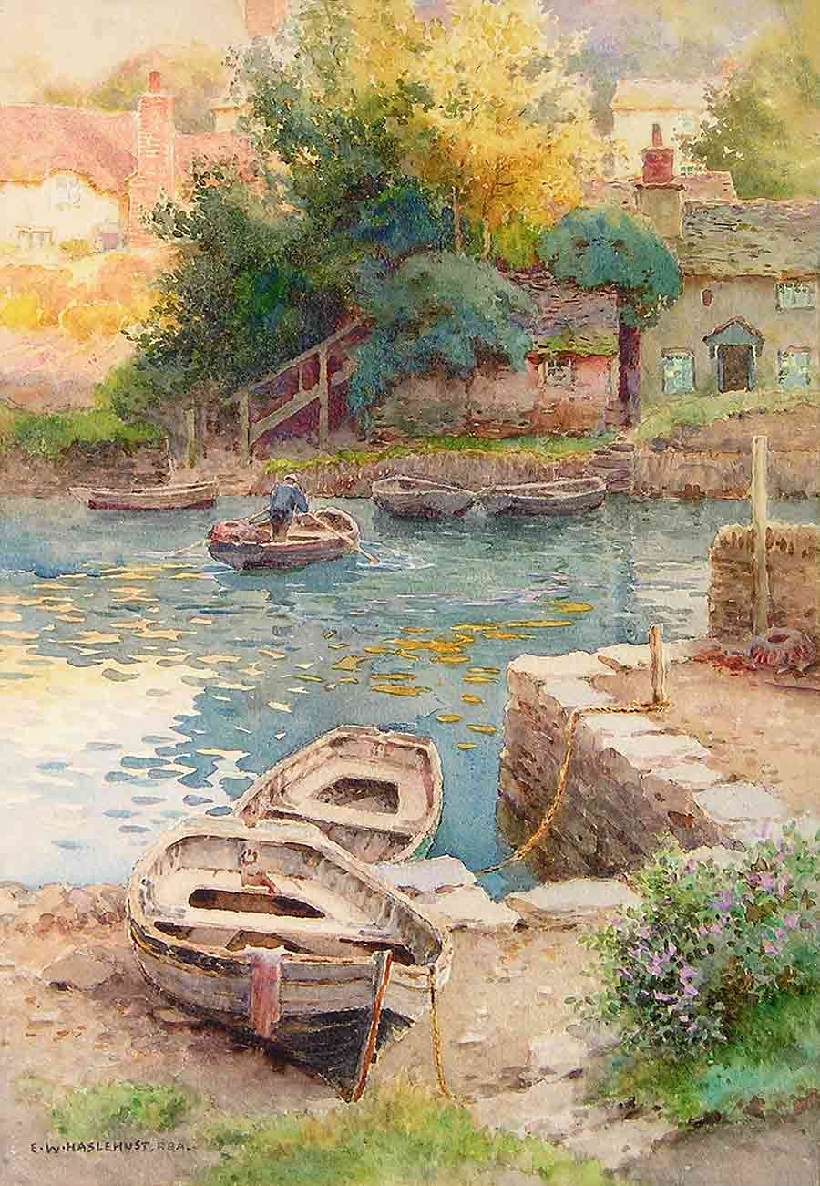 The Landing at Noss Mayo by Ernest W. Haslehust