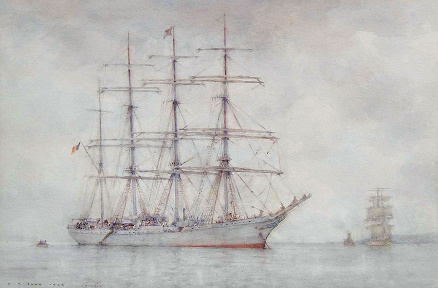 Four-masted Cadet Ship L'Avenir at Anchor off Falmouth by Henry Scott Tuke