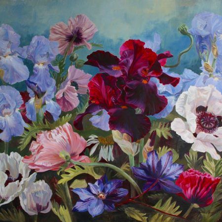 Poppies, Iris and Clematis