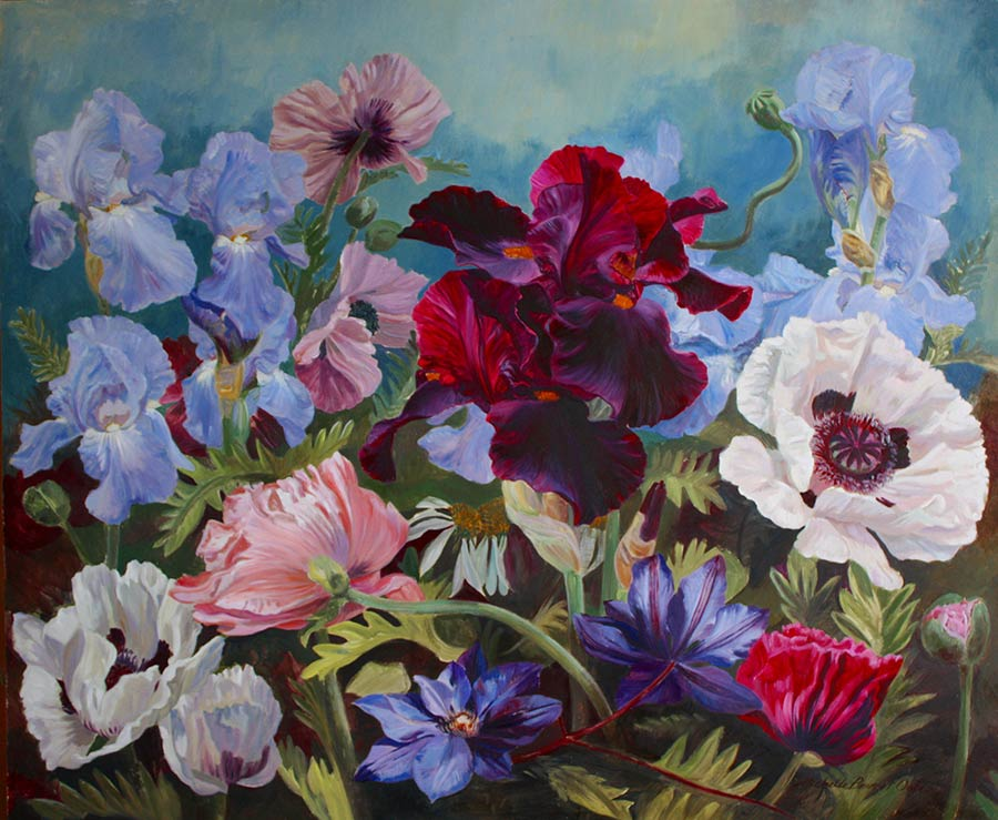 Poppies, Iris and Clematis by Michelle Bennett Oates