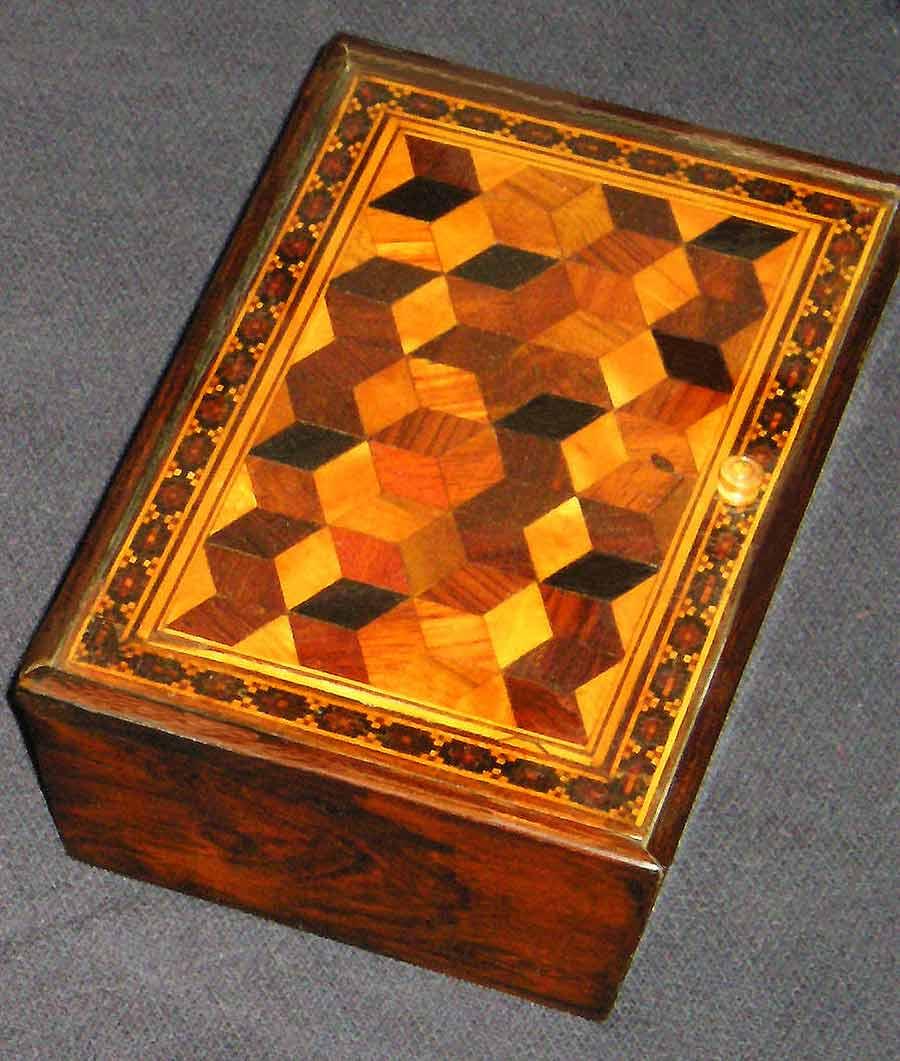 Tunbridge Ware Rectangular Box with Hinged Lid