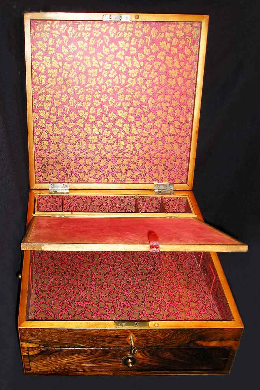 Tunbridge Ware Travelling Writing Box open