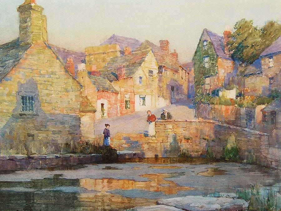 A Warm Summer Evening, The Mill Pond, Swanage by Albert Moulton Foweraker