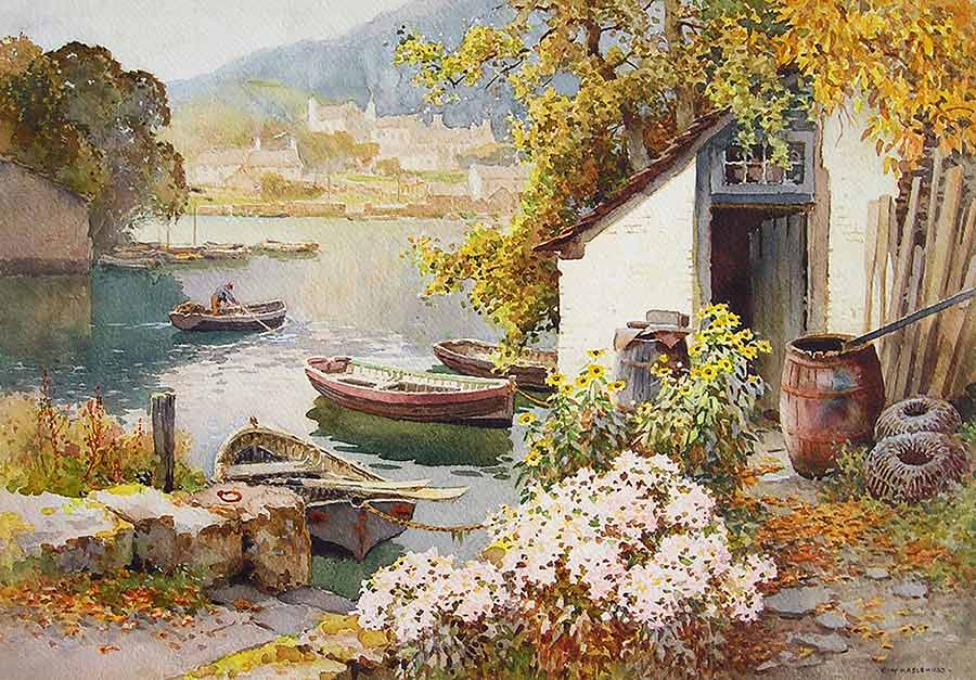 A Fisherman's Landing, Noss Mayo by Ernest William Haslehust