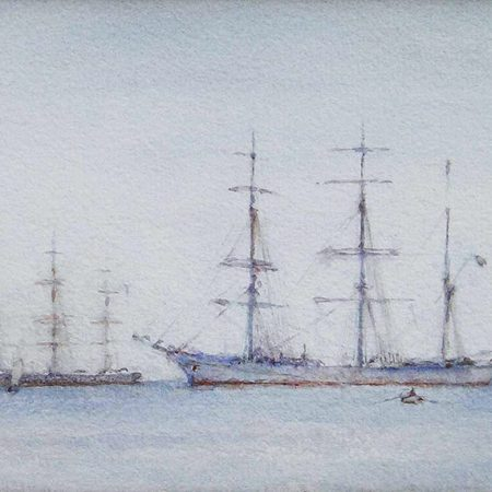 A Ship and a Barque at Anchor in Carrick Roads, 1927