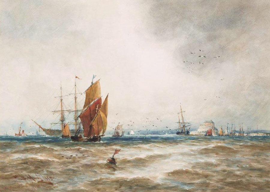 Shipping off the French Coast (Ambleteuse, la côte d'Opale) by Thomas Bush Hardy