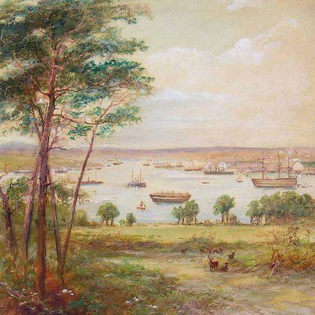 Devonport Dockyard and The Hamoaze from Mount Edgcumbe