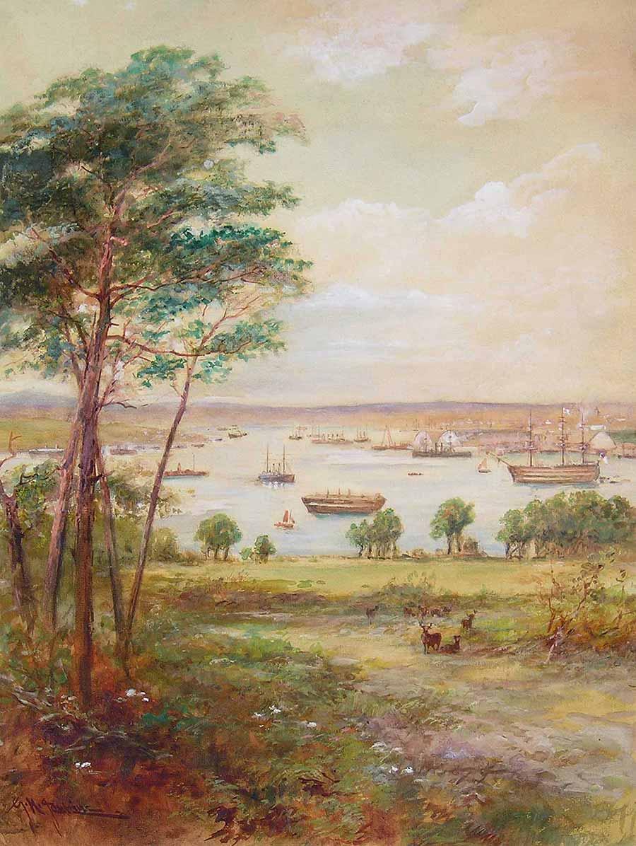 Devonport Dockyard and The Hamoaze from Mount Edgcumbe Deer Park by George Henry Jenkins