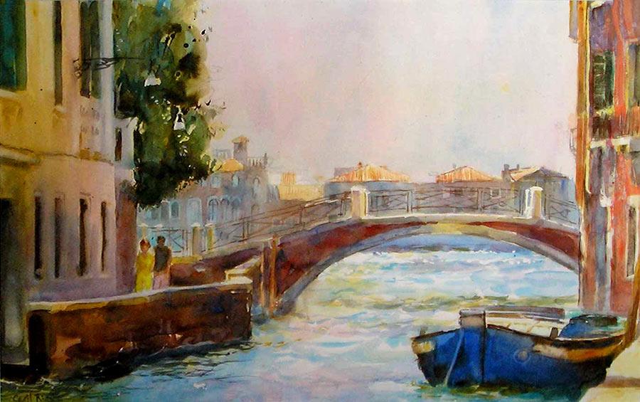 Blue Boat, Venice by Cecil Rice