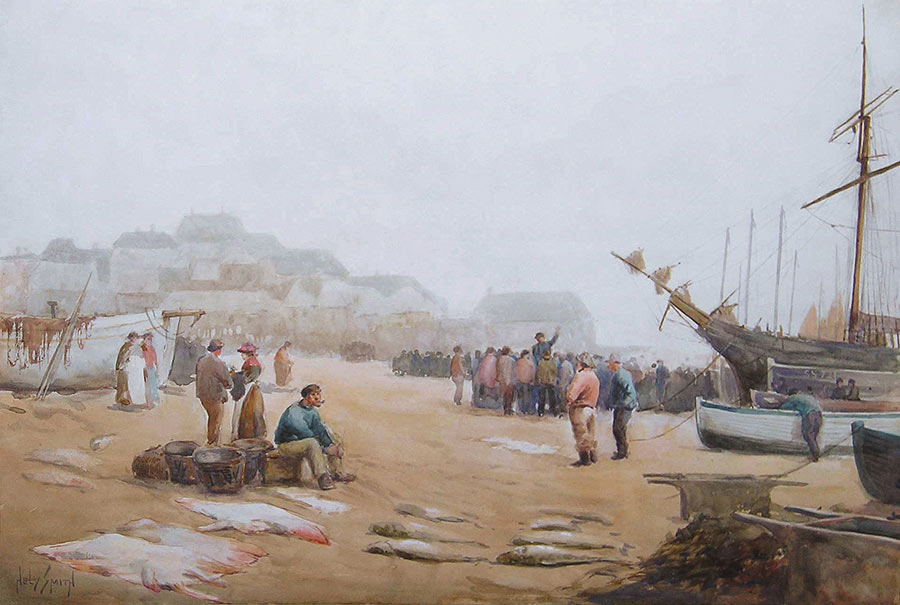 Fish Sale on the Beach, St. Ives by Hely Augustus Morton Smith