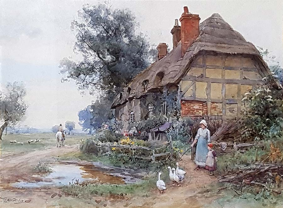 By the Cottage Gate by Sir Ernest Albert Waterlow